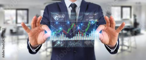 Staande foto Hoogte schaal Businessman using 3D rendering stock exchange datas and charts