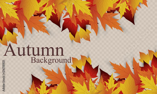 Fototapeta Vector background with red, orange, brown and yellow falling autumn leaves. Templates for posters, banners, flyers, presentations, reports. Autumn leaves. Autumn design. obraz na płótnie