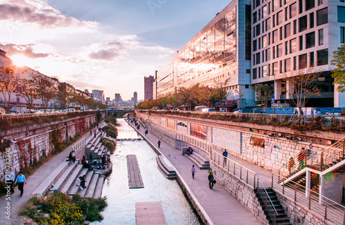 Cheonggyecheon canal near Dongdaemun district, Seoul, South Korea Wallpaper Mural