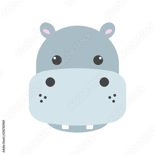 Photographie Cute hippo face icon
