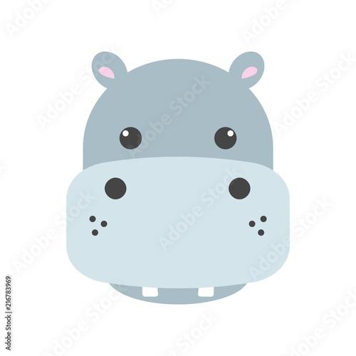 Fotografiet Cute hippo face icon