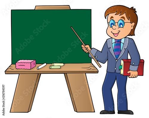 Foto op Plexiglas Voor kinderen Man teacher standing by schoolboard