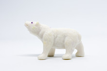 Polar Bear Model Isolated On White Background, Animal Toys Plastic