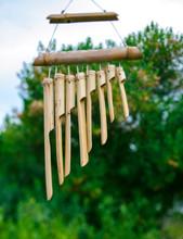 Japanese Bamboo Garden Wind Chimes Wooden Bells Handed On Tree In Japanese Garden