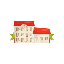 Flat Vector Icon Of Large Stone House With Bright Red Roof. Typical Croatian Building. Architecture Theme