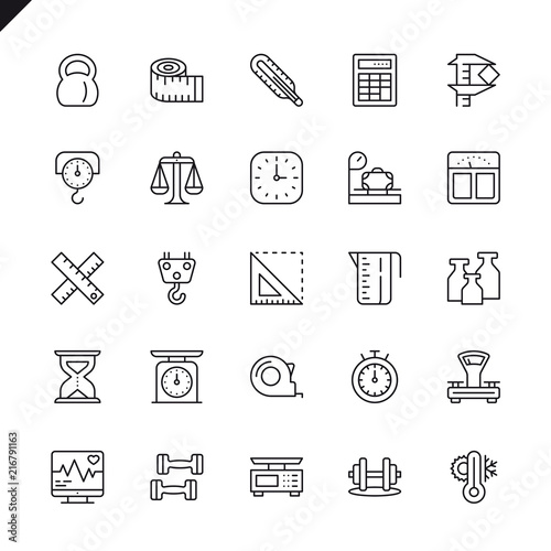 Obraz Thin line measuring, measure elements icons set for website and mobile site and apps. Outline icons design. 48x48 Pixel Perfect. Linear pictogram pack. Vector illustration. - fototapety do salonu