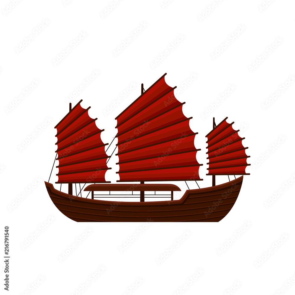 Fototapeta Traditional Chinese junk boat with red sails. Old wooden sailing ship. Asian marine vessel. Symbol of Hong Kong. Flat vector icon