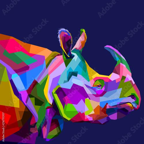 colorful rhinoceros on pop art
