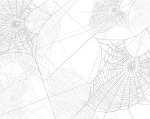 Spooky Spider Web Silhouette Design - Black And White Halloween Theme Vector Background