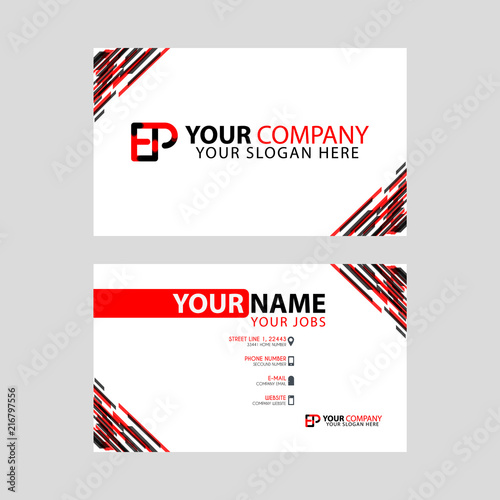 Letter Ep Logo In Black Which Is Included In A Name Card Or Simple
