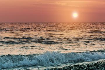 Fototapeta Vintage Sunset on the sea