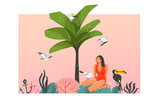Hand drawn vector abstract cartoon summer time graphic illustration template card with girl,sunset,palm,tree,toucan birds on beach scene isolated on white background - 216799710
