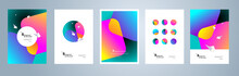 Modern Abstract Covers Set, Minimal Geometric Backgrounds, Posters From Multi-colored Gradients
