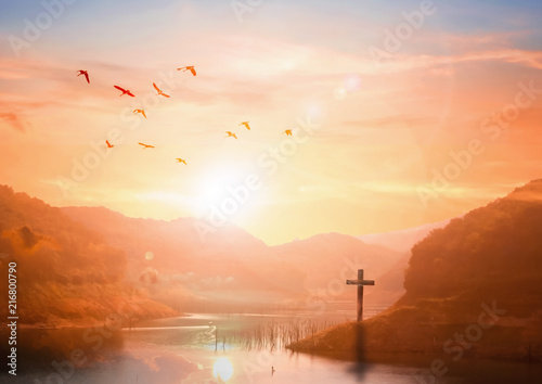 Cuadros en Lienzo The concept of salvation:The Cross symbol of christian and Jesus Christ