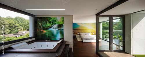 Bedroom and hydromassage in modern villa Fototapete