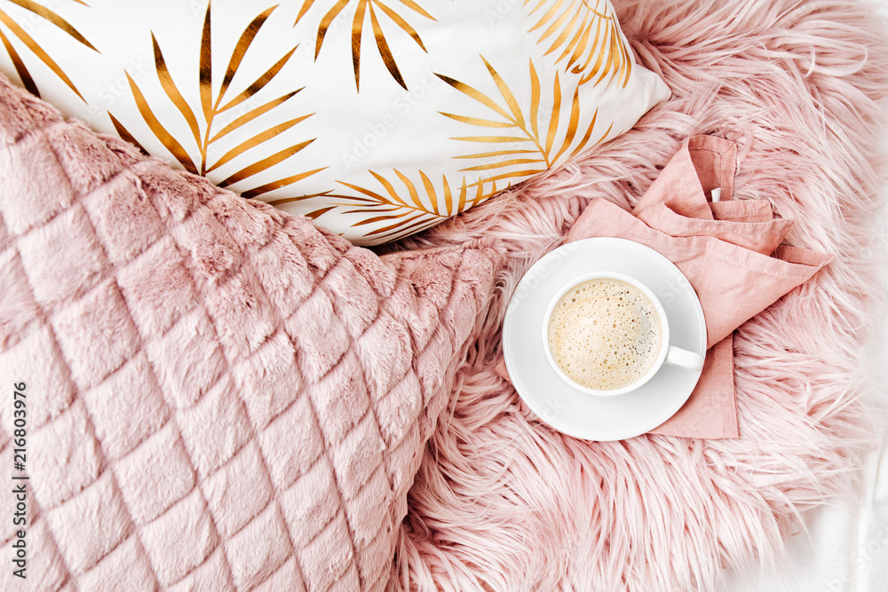 Fototapety, obrazy: Bedding with a stylish pink pillows and cup of coffee. Copy space. Flat lay, top view