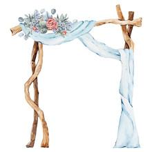 Watercolor Wedding Arch Illustration, Summer, Winter Wedding