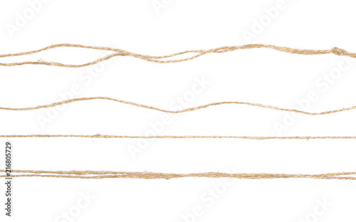 String, rope isolated on white background texture, top view Wallpaper Mural