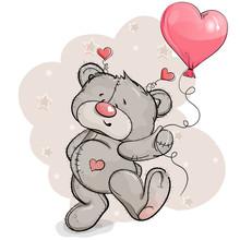 Teddy Bear Joyful Jumps With A Balloon In His Hand