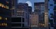 Full Moon Over Manhattan Skyline Night View