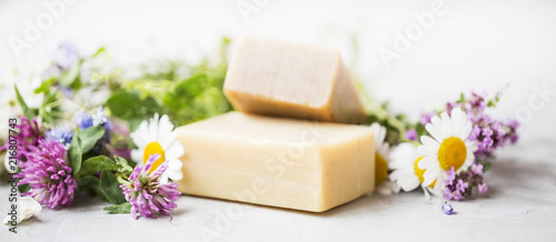 Fototapeta Natural handmade skincare. Organic soap bars with plants extracts obraz