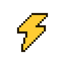 Vector Pixel Flash Isolated On White Background. 80s-90s Style Design Illustrations - Great For Stickers, Embroidery, Badges. Lightning Bolt Cartoon Badge Or Logotype.