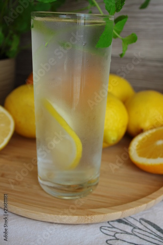 Cold water with lemon and mint