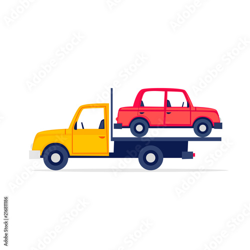 Garden Poster Cartoon cars Tow truck is driving a car, a breakdown. Flat style vector illustration.