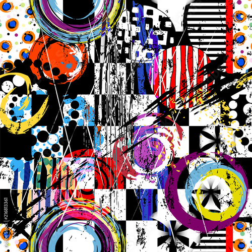 semless abstract background composition, with circles, paint strokes and splashes, black and white