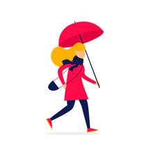 Girl Running With An Umbrella, Autumn, Rain. Flat Style Vector Illustration.
