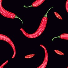 Red Hot Pepper On Black Background. Vector Color Seamless Pattern Illustration. Healthy Organic Food.
