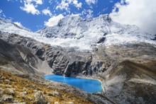 The Blue Lake Of Laguna 69 With Chacraraju Peak. Ancash, Cordigliera Blanca, Peru.