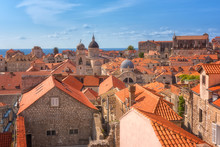 Red Tiled Roofs Of Dubrovnik Old Town, View From The Ancient City Wall. The World Famous And Most Visited Historic City Of Croatia, UNESCO World Heritage Site