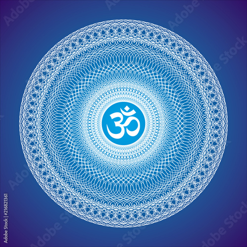 Photo  Openwork white mandala with the Aum / Om / Ohm sign on a blue background