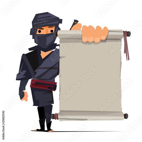 Cuadros en Lienzo male ninja warrior showing old paper to presenting