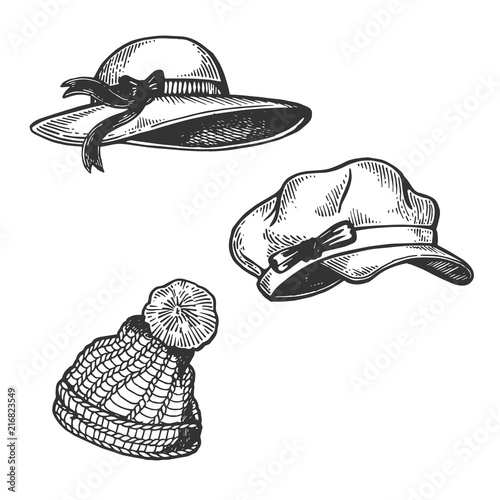 Photo Woman Hats engraving vector illustration