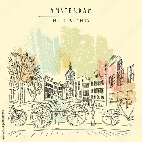 Obrazy Amsterdam  amsterdam-holland-netherlands-vintage-hand-drawn-postcard