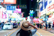 Tourist Is Enjoy Traveling In Famous Night Market In Mong Kok, Hong Kong.