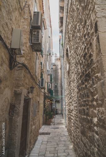 Beautiful narrow old street in Split, Croatia.