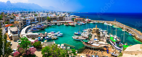 Poster Cyprus travel in Cyprus - turkish part Kyrenia. View of old port
