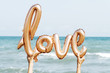 balloon in the shape of the word love