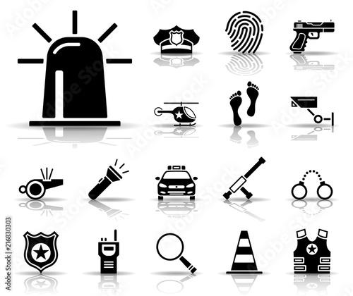 Polizei - Iconset (Schwarz) Canvas Print