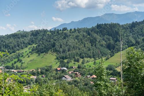 Foto op Canvas Pistache Mountain landscape and villages on the Rucar Bran corridor, in Transylvania, Romania