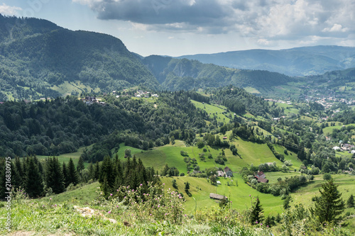 Tuinposter Pistache Mountain landscape and villages on the Rucar Bran corridor, in Transylvania, Romania
