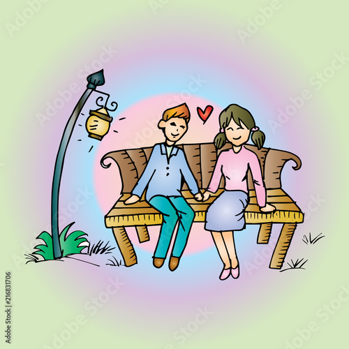 Aluminium Prints Wild West Couple on a bench. Hand drawing illustration.