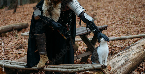 Fotografie, Tablou  Medieval knight with sword in armor as style Game of Thrones in the forest