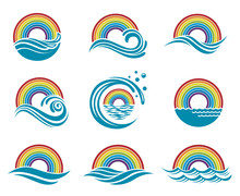 Abstract Collection Of Rainbow And Sea Icons