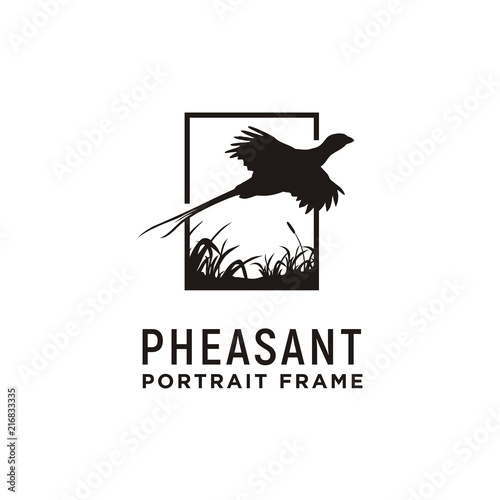 Fotomural Beauty Flying Pheasant Silhouette Logo design
