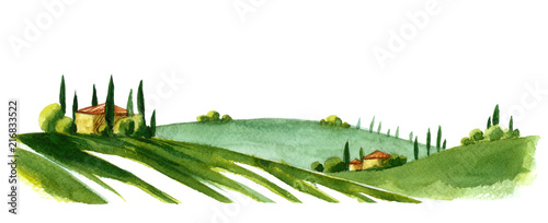Recess Fitting White Watercolor illustration of small village in Europe. Alpine landscape on white background