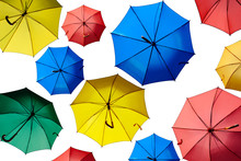 Colorful Umbrellas Isolated On A White Background.